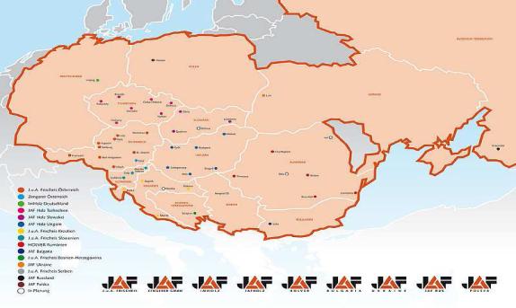 Jaf International Services GesmbH - Weltkarte